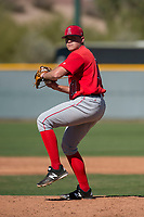Los Angeles Angels relief pitcher Jeremy Beasley (17) during a Minor League Spring Training game against the Chicago Cubs at Sloan Park on March 20, 2018 in Mesa, Arizona. (Zachary Lucy/Four Seam Images)