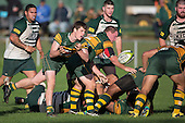 Gregor Christie gets the ball wide from an attacking ruck for Pukekohe. Counties Manukau Premier Club Rugby game between Pukekohe and Manurewa, played at Colin Lawrie Fields, Pukekohe, on Saturday May 28th, 2016. Pukekohe won the game 62 - 18 after leading 19 - 10 at halftime.  Pukekohe won the game 62 - 18 after leading 19 - 10 at halftime. Photo by Richard Spranger.