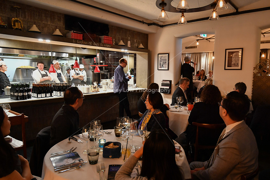 MELBOURNE, 30 June 2017 – Rita Erlich talks to the diners during a dinner celebrating Philippe Mouchel's 25 years in Australia with six chefs who worked with him in the past at Philippe Restaurant in Melbourne, Australia.