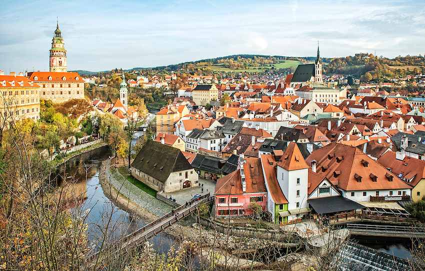 View of Cesky Krumlov from the castle ramparts. The town of Cesky Krumlov is a UNESCO World Heritage site located on the Vltava River (Moldau) in Bohemia, in southwestern Czech Republic. It was built from the 14th to the 17th centuries in Renaissance architectural style, with elements of Gothic and Baroque styles as well. Its 13th century castle is the second largest in the Czech Republic.