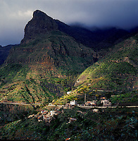 The village of Masca against a stormy sky.Tenerife,Canary Islands,Spain