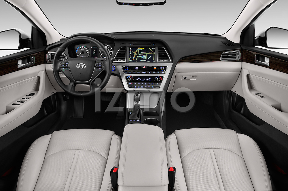 Stock photo of straight dashboard view of 2016 Hyundai Sonata-Plug-in-Hybrid Limited 4 Door Sedan Dashboard