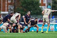 Ed Hoadley of London Scottish prepares to pass the ball during the Greene King IPA Championship match between London Scottish Football Club and Doncaster Knights at Richmond Athletic Ground, Richmond, United Kingdom on 30 September 2017. Photo by Jason Brown / PRiME Media Images.