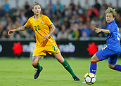 26th March 2018, nib Stadium, Perth, Australia; Womens International football friendly, Australia Women versus Thailand Women; Larissa Crummer of the Matildas passes the ball to a team mate during the first half