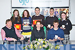 PRESENTATION: Terry OBrien who presented the students of Killarney Community College with their Kerrry Education Service Awards 2011,with the help of their principal in the ITT North Campus on Friday evening. Front l-r: Councillor Terry OBrien, Fiona OBrien (Principal) and Jonathan McClintock. Back l-r: Esidor Pashaj, Aine OConnor, Marguerite Brosnan, Mary Kelliher and Marek Dzurko...