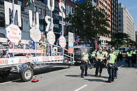 The Trump Unity Bridge is seen before the Straight Pride Parade in Boston, Massachusetts, on Sat., August 31, 2019. Before the parade started, police had to help inflate a tire on the float.