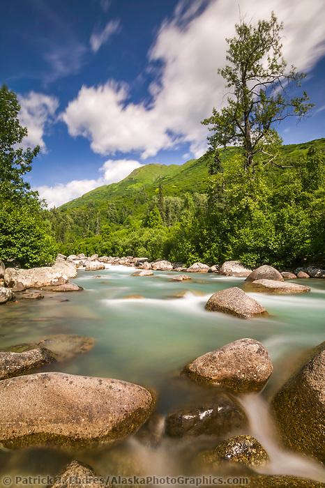 The Little Susitna river flows over boulders, near Hatcher Pass, Alaska