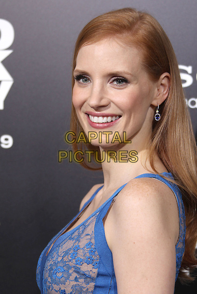 """Jessica Chastain.""""Zero Dark Thirty"""" Los Angeles Premiere held at Dolby Theater, Hollywood, California, USA..December 10th, 2012.headshot portait blue lace side.CAP/ADM/RE.©Russ Elliot/AdMedia/Capital Pictures."""