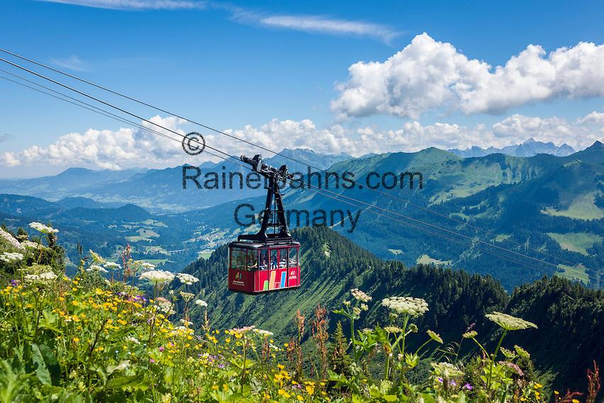 Austria, Vorarlberg, Kleinwalsertal, Mittelberg: Walmendingerhorn cable car and the Allgaeu Alps   Oesterreich, Vorarlberg, Kleinwalsertal, Mittelberg: die Walmendingerhornbahn und das Panorama der Allgaeuer Alpen