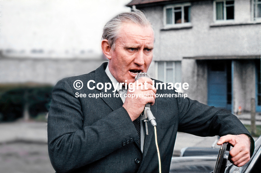 Bannside by-election, April 16th 1970, N Ireland, Prime Minister, Major James Chichester-Clark speaking on behalf of Dr Bolton Minford, official unionist candidate. 197004160007.<br /> <br /> Copyright Image from Victor Patterson, 54 Dorchester Park, <br /> Belfast, UK, BT9 6RJ<br /> <br /> t1: +44 28 9066 1296 (from Rep of Ireland 048 9066 1296)<br /> t2: +44 28 9002 2446 (from Rep of Ireland 048 9002 2446)<br /> m: +44 7802 353836<br /> <br /> e1: victorpatterson@me.com<br /> e2: victorpatterson@gmail.com<br /> www.victorpatterson.com<br /> <br /> Please see my Terms and Conditions of Use at www.victorpatterson.com. It is IMPORTANT that you familiarise yourself with them.<br /> <br /> Images used on the Internet must be visibly watermarked i.e. &copy; Victor Patterson<br /> within the body of the image and copyright metadata must not be deleted. Images <br /> used on the Internet have a size restriction of 4kbs and will be chargeable at current<br />  NUJ rates unless agreed otherwise.<br /> <br /> This image is only available for the use of the download recipient i.e. television station, newspaper, magazine, book publisher, etc, and must not be passed on to any third <br /> party. It is also downloaded on condition that each and every usage is notified within 7 days to victorpatterson@me.com<br /> <br /> The right of Victor Patterson to be identified as the author is asserted in accordance with The Copyright Designs And Patents Act (1988).