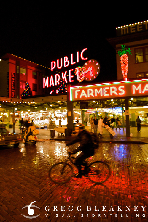Cyclist at the Public Market - Seattle - Washington State