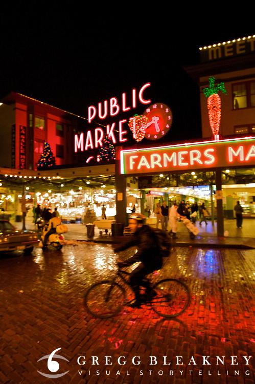Cyclist at the Public Market - Seattle - Washington State
