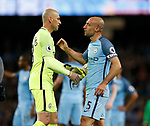 Wilfredo Caballero of Manchester City greets Pablo Zabaleta of Manchester City during the English Premier League match at the Etihad Stadium, Manchester. Picture date: May 16th 2017. Pic credit should read: Simon Bellis/Sportimage
