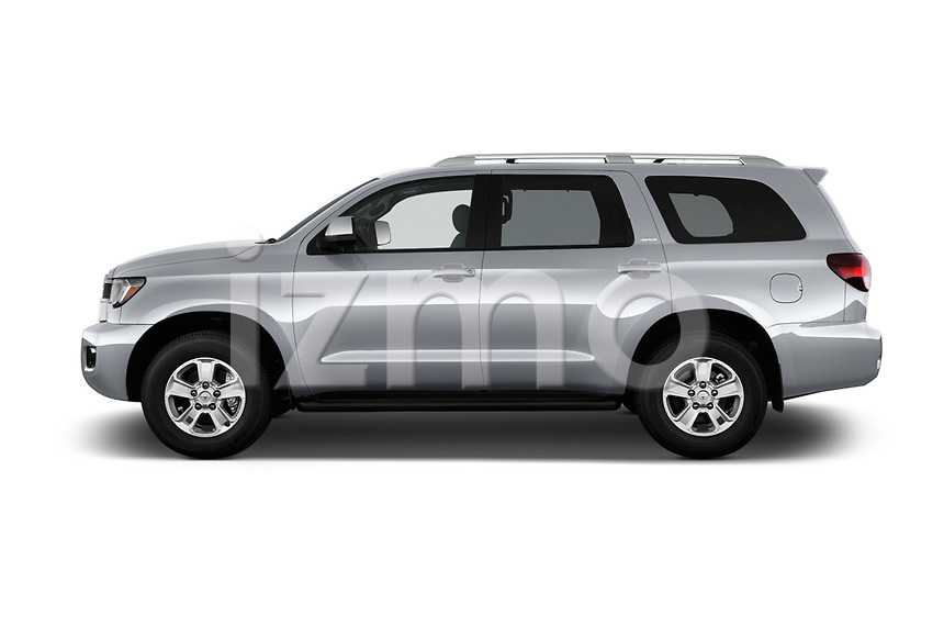 Car driver side profile view of a 2018 Toyota sequoia sr 5 Door SUV