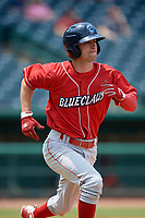 Lakewood BlueClaws third baseman Dalton Guthrie (5) runs to first base during a game against the Greensboro Grasshoppers on June 10, 2018 at First National Bank Field in Greensboro, North Carolina.  Lakewood defeated Greensboro 2-0.  (Mike Janes/Four Seam Images)
