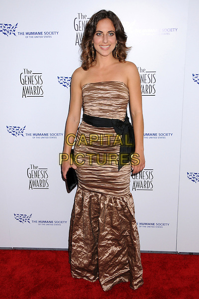 RORY FREEDMAN.22nd Annual Genesis Awards at the Beverly Hilton Hotel, Beverly Hills, California, USA..March 29th, 2008.full length black bow sash waist beige brown crushed wrinkled dress strapless clutch bag purse .CAP/ADM/BP.©Byron Purvis/AdMedia/Capital Pictures.