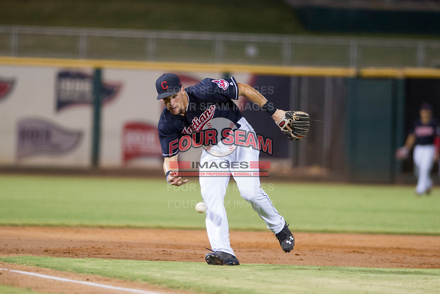 AZL Indians third baseman Henry Pujols (28) fields a ground ball against the AZL Padres on August 30, 2017 at Goodyear Ball Park in Goodyear, Arizona. AZL Padres defeated the AZL Indians 7-6. (Zachary Lucy/Four Seam Images)
