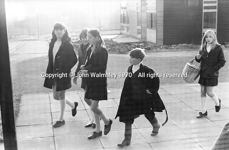 Arriving at school in the morning, Whitworth Comprehensive School, Whitworth, Lancashire.  1970.