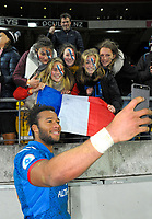 France's Teddy Thomas takes a selfie with fans after the Steinlager Series international rugby match between the New Zealand All Blacks and France at Westpac Stadium in Wellington, New Zealand on Saturday, 16 June 2018. Photo: Dave Lintott / lintottphoto.co.nz