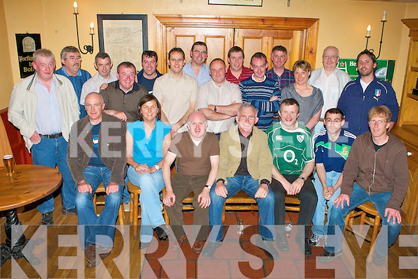 6453-6460.MOVING WEST: Tadgh O'Halloran, Derrymore (seated 4th right) who is transferring from Tralee G.P.O after 10 years there to Castlegregory Post Office to cover the Camp area celebrating with family and friends at Stokers Lodge restaurant and bar on Friday..