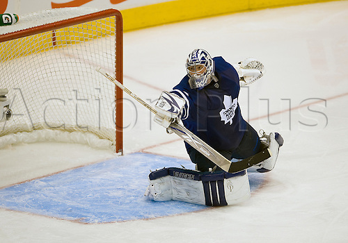 13th October 2009:  Toronto Maple Leafs goalie Joey MacDonald (29) in action during the second period in a game between the Colorado Avalanche and the Toronto Maple Leafs at the Air Canada Centre in Toronto, Ontario. Photo by Nick Turchiaro/Actionplus. UK Licenses Only..