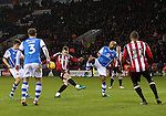 Paul Coutts of Sheffield Utd has another shot blocked during the English League One match at Bramall Lane Stadium, Sheffield. Picture date: November 29th, 2016. Pic Simon Bellis/Sportimage