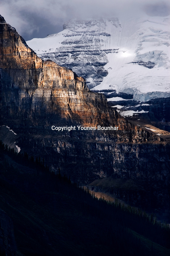 Abstract view of Mount Victoria Glacier in Lake Louise