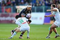 Robbie Fruean of Bath Rugby takes on the Pau defence. European Rugby Challenge Cup match, between Bath Rugby and Pau (Section Paloise) on January 21, 2017 at the Recreation Ground in Bath, England. Photo by: Patrick Khachfe / Onside Images