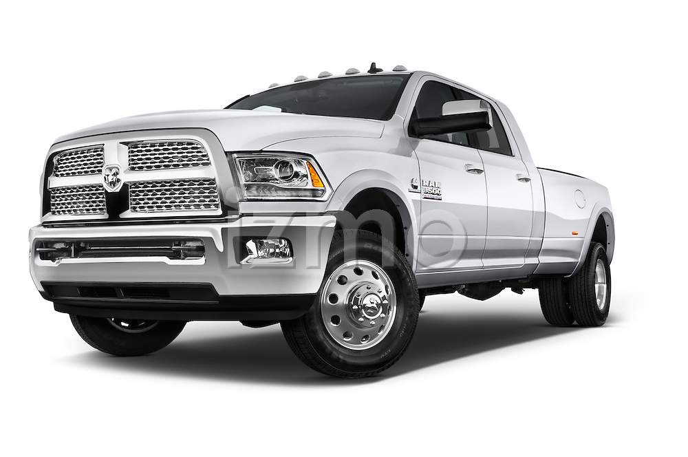 Stock pictures of low aggressive front three quarter view of a 2015 Ram 3500 Laramie Mega Cab 4 Door Van