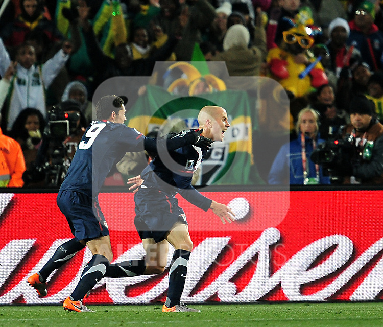 4 Michael BRADLEY scoring a goal during the 2010 World Cup Soccer match between the USA and Slovenia played at Ellispark Stadium in Johannesburg South Africa on 18 June 2010.