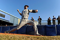 Long Island Blackbirds pitcher Justin Topa #27 warms up in the bullpen in front of scouts before a game against the Illinois State Redbirds at Chain of Lakes Stadium on March 8, 2013 in Winter Haven, Florida.  Illinois State defeated Long Island 6-4.  (Mike Janes/Four Seam Images)