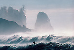 Kayak surfing, winter storm surf, La Push, Olympic National Park, Olympic Peninsula, Washington State, Pacific Northwest, USA