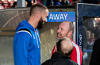 Ex-Bolton Wanderers' player  Aaron Wilbraham chats with Bolton Wanderers' assistant manager Steve Parkin <br /> <br /> Photographer Andrew Kearns/CameraSport<br /> <br /> The Carabao Cup First Round - Rochdale v Bolton Wanderers - Tuesday 13th August 2019 - Spotland Stadium - Rochdale<br />  <br /> World Copyright © 2019 CameraSport. All rights reserved. 43 Linden Ave. Countesthorpe. Leicester. England. LE8 5PG - Tel: +44 (0) 116 277 4147 - admin@camerasport.com - www.camerasport.com