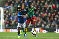 Arnaud Djoum of Cameroon and Heart of Midlothian and Willian of Brazil and Chelsea during Brazil vs Cameroon, International Friendly Match Football at stadium:mk on 20th November 2018