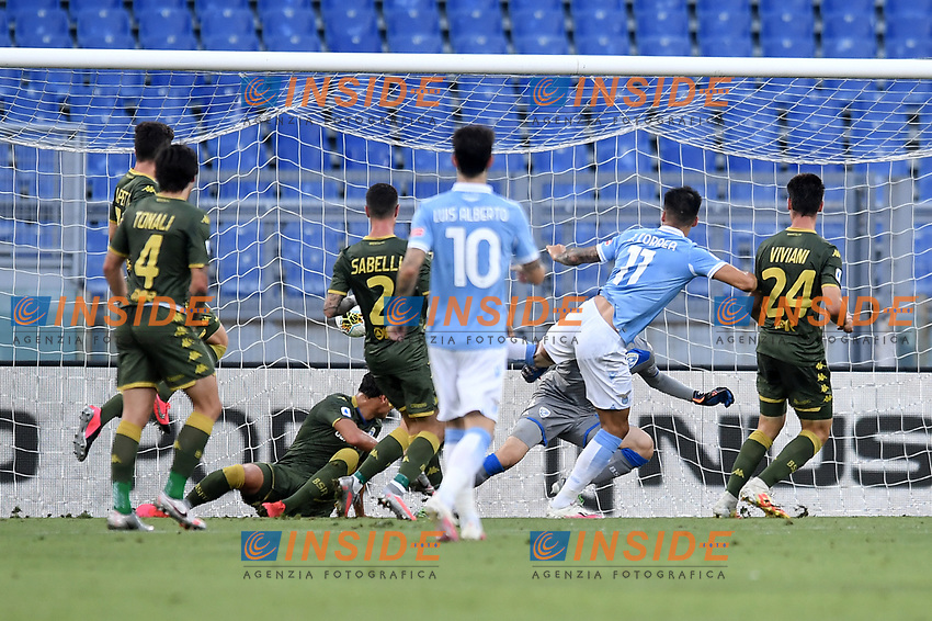 Joaquin Correa of Lazio scores a goal 1-0<br /> during the Serie A football match between SS Lazio  and Brescia Calcio at stadio Olimpico in Roma (Italy), July 29th, 2020. Play resumes behind closed doors following the outbreak of the coronavirus disease. <br /> Photo Antonietta Baldassarre / Insidefoto