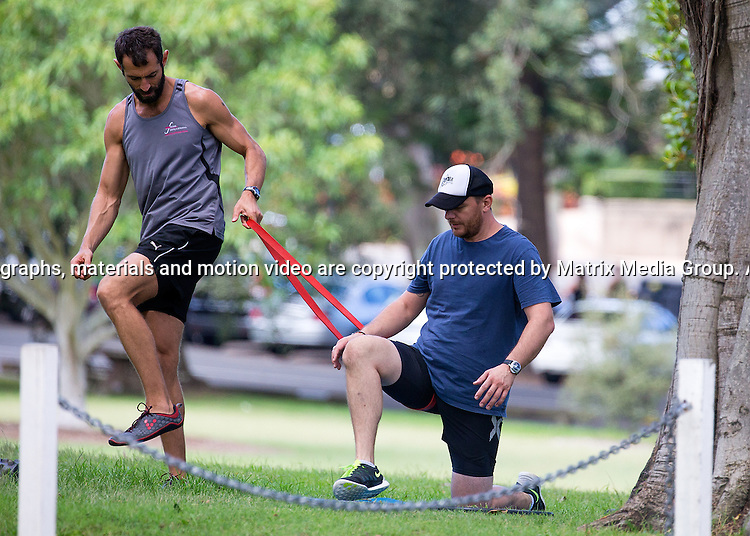 3 MARCH 2015 SYDNEY AUSTRALIA<br /> <br /> EXCLUSIVE PICTURES<br /> <br /> Manu Feildel pictured busting a phew phew valve during a personal training session in Centennial Park.<br /> <br /> *No web use without clearance*.<br /> MUST CONTACT PRIOR TO USE <br /> +61 2 9211-1088. <br /> <br /> Matrix Media Group AU .Note: All editorial images subject to the following: For editorial use only. Additional clearance required for commercial, wireless, internet or promotional use.Images may not be altered or modified. Matrix Media Group AU makes no representations or warranties regarding names, trademarks or logos appearing in the images.