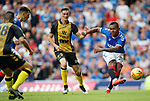 25.07.2019 Rangers v Progres Niederkorn: Alfredo Morelos shoots as Ben Vogel watches on