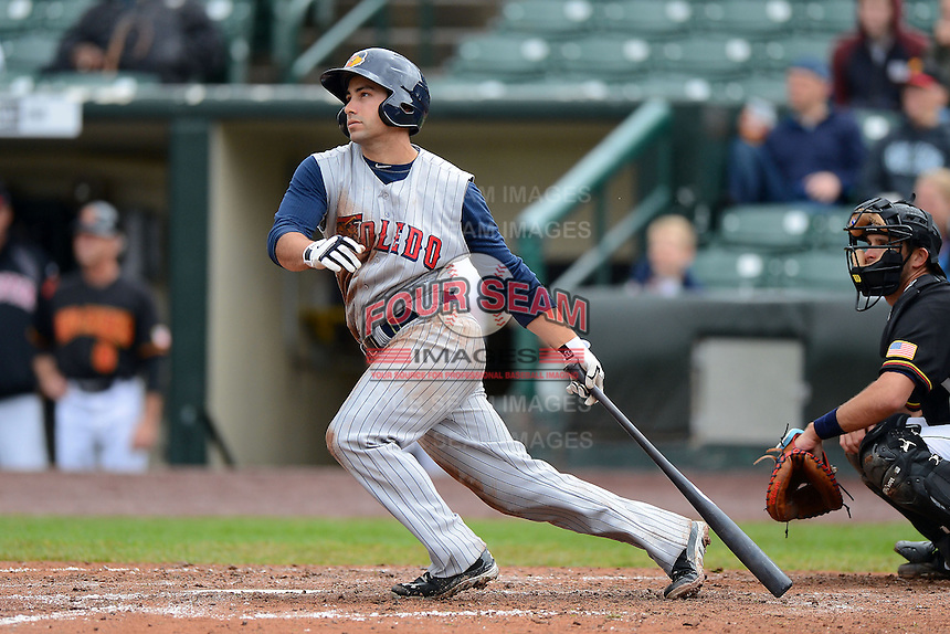 Toledo Mudhens second baseman / outfielder Kevin Russo #20 during a game against the Rochester Red Wings on June 11, 2013 at Frontier Field in Rochester, New York.  Toledo defeated Rochester 9-5.  (Mike Janes/Four Seam Images)