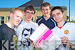 Anthony Markowski, Nicholas Doyle, Michael McEnery and Michael Kelliher, Killarney Community College, look over some sample papers ahead of their Leaving Certificate exam on Wednesday............