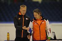 SCHAATSEN: HEERENVEEN: 02-10-2014, IJsstadion Thialf, Richard Louman (l), Jeroen Otter (trainer/bondscoach shorttrack), Topsporttraining, ©foto Martin de Jong