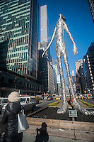 """Looking Up"", 2015 by the artist Tom Friedman is seen displayed on the Park Avenue medians in New York on a Friday, February 5, 2016. The 33.3 foot tall sculpture is made of stainless steel cast using the lost wax casting technique from molds created with household objects including crushed aluminum foil. It will remain on view until June. The Fund for Park Avenue and the NYC Parks and Recreation Dept. have been presenting public art on the medians since 1969.  (© Richard B. Levine)"