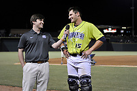 Catcher Hayden Senger (15) of the Columbia Fireflies is interviewed after a game against the Charleston RiverDogs on Saturday, April 6, 2019, at Segra Park in Columbia, South Carolina. Columbia won, 3-2. (Tom Priddy/Four Seam Images)