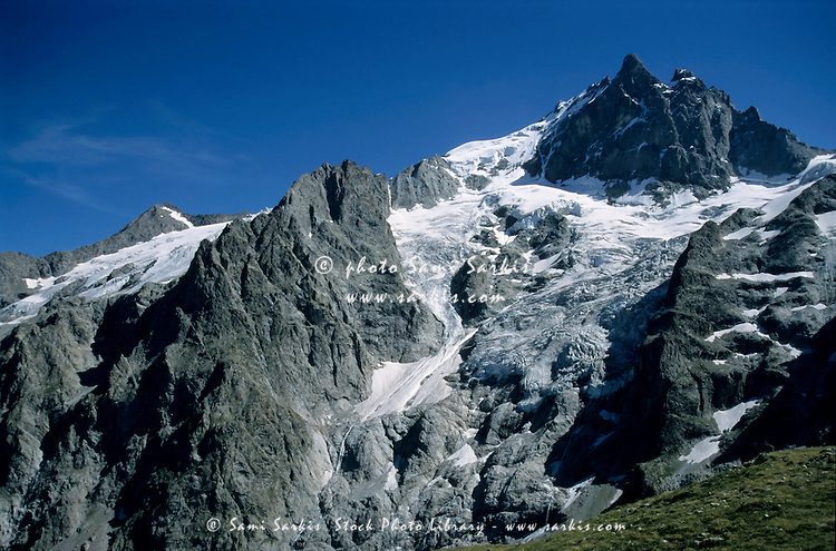Glaciers on the Barre des Ecrins and La Meije mountains in the French Alps, France.
