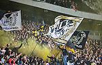 ***BETALBILD***  <br /> Stockholm 2015-09-27 Fotboll Allsvenskan Hammarby IF - AIK :  <br /> AIK:s supportrar med flaggor under matchen mellan Hammarby IF och AIK <br /> (Foto: Kenta J&ouml;nsson) Nyckelord:  Fotboll Allsvenskan Tele2 Arena Hammarby HIF Bajen AIK Derby supporter fans publik supporters