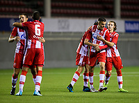 6th November 2019; Vozdovac Stadium, Belgrade, Serbia; UEFA Under 19 UEFA Youth league football, FK Crvena Zvezda under 19s versus Tottenham Hotspur under 19s; The players of FK Crvena Zvezda celebrate the victory