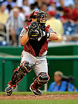 10 July 2008: Arizona Diamondbacks' catcher Miguel Montero in action against the Washington Nationals at Nationals Park in Washington, DC. The Diamondbacks defeated the Nationals 7-5 in 11 innings to take the rubber match of their 3-game series in the Nation's Capitol...Mandatory Photo Credit: Ed Wolfstein Photo