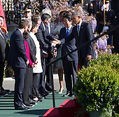 United States President Barack Obama introduces Japan's Prime Minister Shinzo Abe  to his cabinet at The White House in Washington DC during a State Visit, April 28, 2015.<br /> Credit: Chris Kleponis / CNP