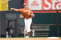 Texas Longhorns shortstop Brandon Loy #10 throws to first base against the Texas A&M Aggies in NCAA Big XII Conference baseball on May 21, 2011 at Disch Falk Field in Austin, Texas. (Photo by Andrew Woolley / Four Seam Images)
