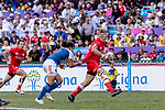 John Moonlight of Canada (R) runs with the ball during the HSBC Hong Kong Sevens 2018 Bowl Final match between Canada and France on 08 April 2018, in Hong Kong, Hong Kong. Photo by Marcio Rodrigo Machado / Power Sport Images