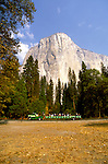 CA: Yosemite National Park, Tram and tourists in Yosemite       .Photo Copyright: Lee Foster, lee@fostertravel.com, www.fostertravel.com, (510) 549-2202.cayose236